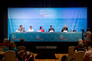Opening Press Conference with (from left) Bertrand Audoin, IAS Executive Director (chair), Françoise Barré-Sinoussi, IAS 2013 International Chair, Adeeba Kamarulzaman, IAS 2013 Local Co-Chair, Andrew Tan, Community Representative and Steven Deeks, University of California, San Francisco
