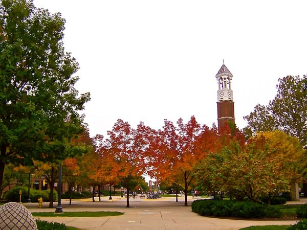 The Purdue Bell Tower during autumn.