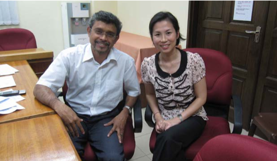 Prof. Sudesh with Dr. Lee Hooi Ling at the interview session.