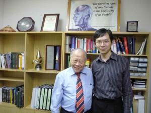 Tan Sri Prof. Augustine Ong with Dr. Wong Kah Keng after the interview.