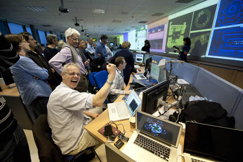 A jubilant ATLAS team when the LHC achieved its first 7TeV collision, the highest energy  ever recorded for a particle collider. Photo: CERN.