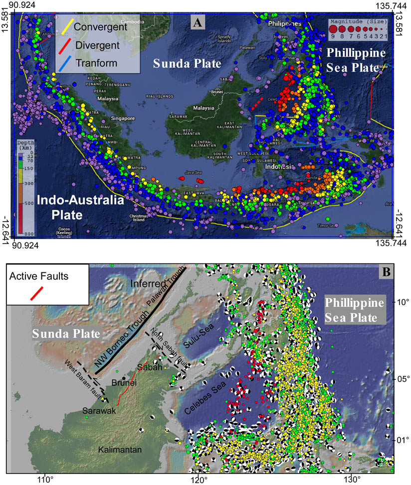 Figure 1A. Regional tectonic setting of NW Borneo. The seismological data from Incorporated Research Institutions for Seismology (IRIS) shows highly concentrated distribution of earthquakes around the region. However, within NW Borneo earthquake distribution is very scarce, and based on this data the earthquake hazard is generally assumed to be negligible, which is questionable.