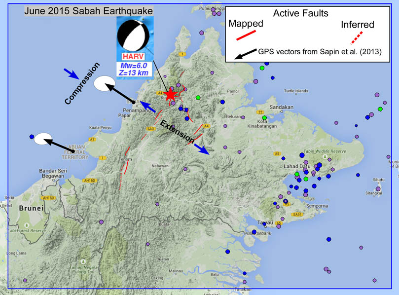 Figure 1B. The recent seismological data is superimposed onto the topographic image, which shows a large number of earthquakes on the west of study area, these are related to the subduction process. A significant number of earthquakes are clustered in and around Sabah, and these are mostly shallow focus and are a combination of normal, strike-slip and thrust fault related (shown as beach balls). This suggests active nature of faulting and thus topographic and geomorphic signatures are required to be mapped in detail.