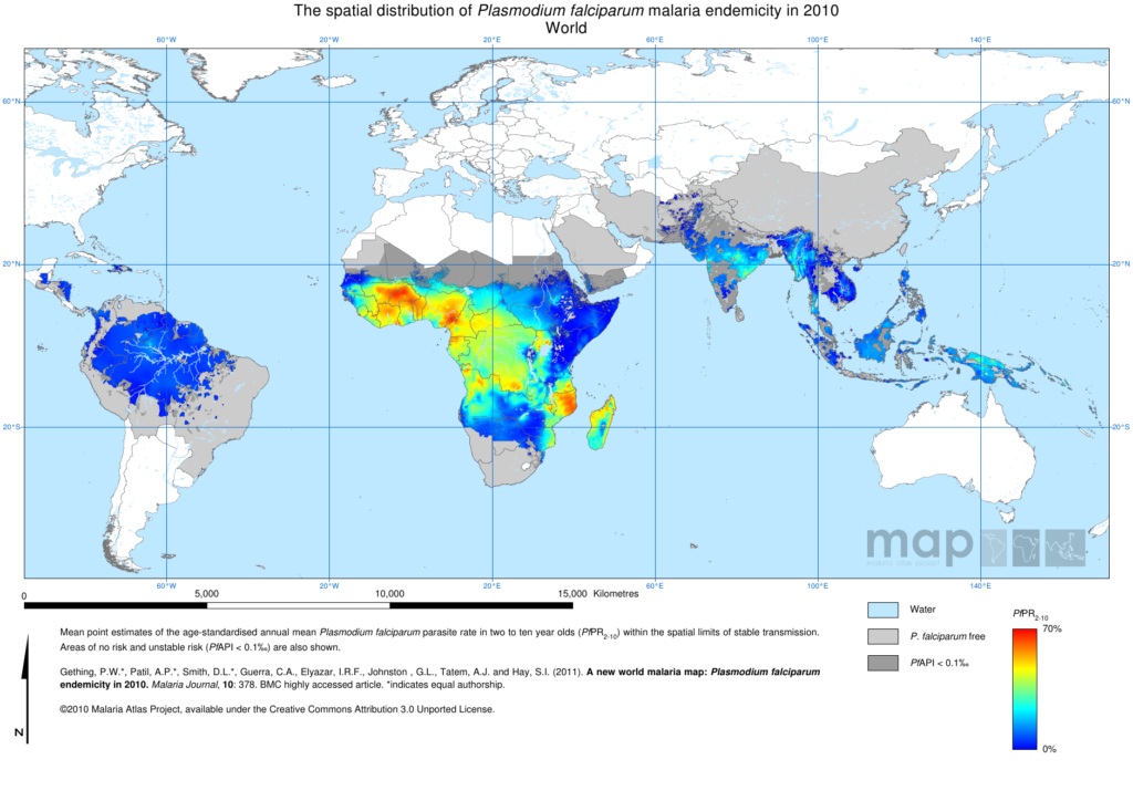 Figure 2A: Endemicity map of the Plasmodium falciparum in 2010 (Image credit: The Malaria Atlas Project)