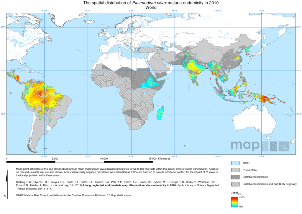Figure 2B: Endemicity map of the Plasmodium vivax in 2010 (Image credit: The Malaria Atlas Project)
