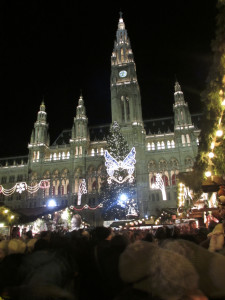 Crowds throng to the Rathaus (the Town Hall) during the Christmas Market