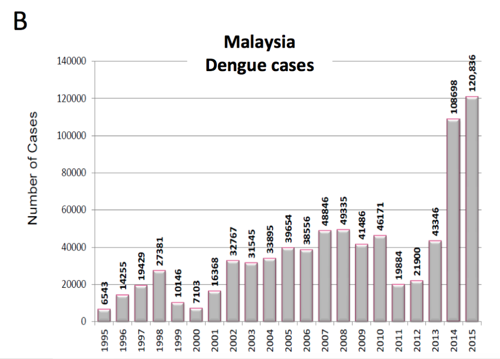 Figure 2B: Number of dengue cases in Malaysia from 1995 – 2015.