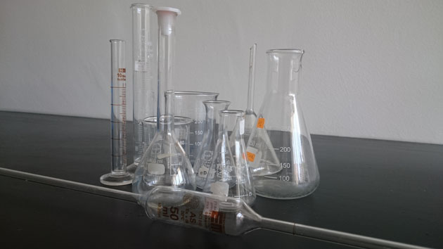 Traditional lab glasswares.
